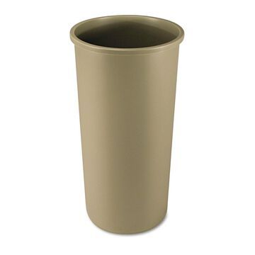 Rubbermaid Commercial Untouchable Waste Container Round Plastic 22gal Beige
