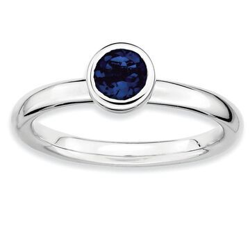 Sterling Silver Stackable Polished Low 5mm Round Created Sapphire Ring by Versil (10)