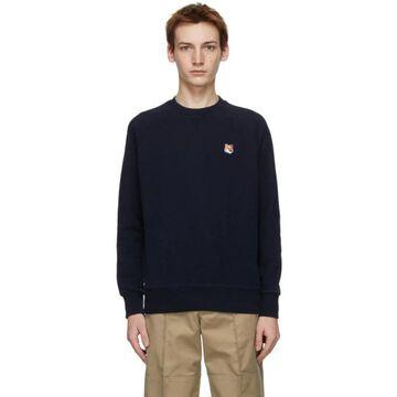 Maison Kitsune Navy Fox Head Adjusted Sweatshirt