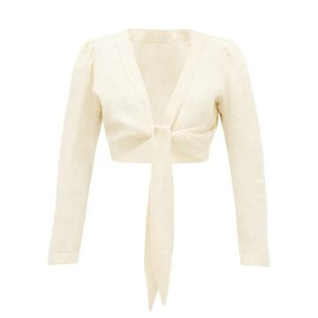 Lisa Marie Fernandez - Tie-front Puff-sleeve Linen Blouse - Womens - Beige