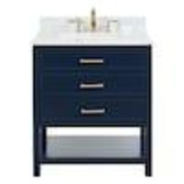 allen + roth Presnell 31-in Navy Blue Single Sink Bathroom Vanity with Carrara White Natural Marble Top