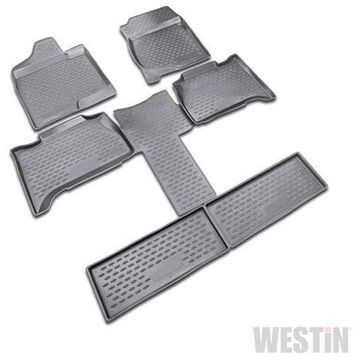 2010 GMC Yukon Westin Profile Floor Liners & Mats, Front, 2nd, and 3rd Row Floor Liners in Black