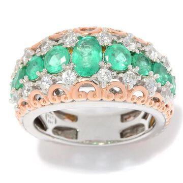 Michael Valitutti Palladium Silver Belmont Emerald & White Zircon Flower Ring