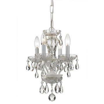 Crystorama Traditional Crystal 4-Light Wet White Traditional Crystal Chandelier   5534-WW-CL-MWP