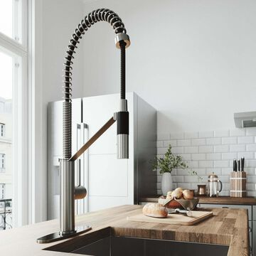 VIGO Livingston Stainless Steel Kitchen Faucet with Deck Silver