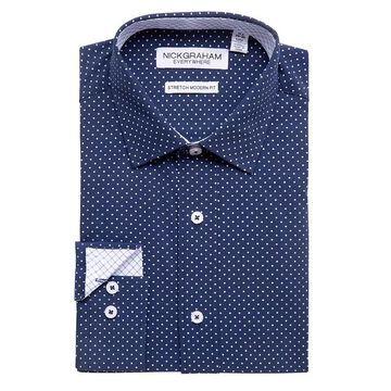 Men's Nick Graham Everywhere Modern-Fit Stretch Dress Shirt, Size: XL-34/35, Blue