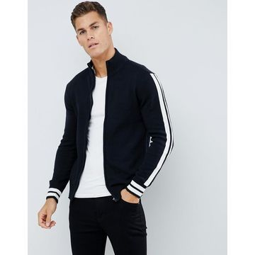 Another Influence Arm Stripe Zip through Sweater