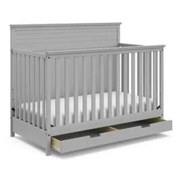 Storkcraft Homestead 4-in-1 Convertible Crib with Drawer (Pebble Gray)