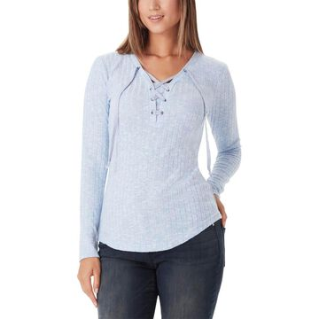 William Rast Womens Ribbed Knit Lace-Up Pullover Top