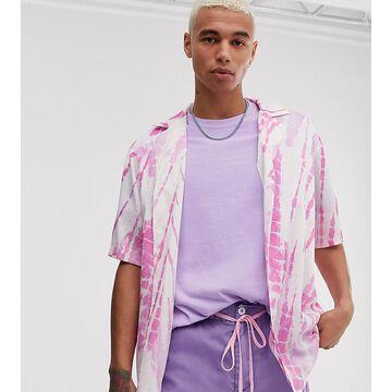 Reclaimed Vintage tie dye shirt in crinkle-Pink
