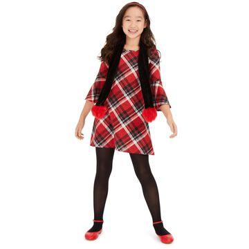Big Girls 2-Pc. Plaid Dress & Scarf Set