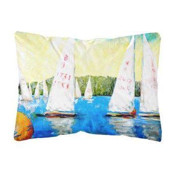 Sailboats Round the Mark Canvas Fabric Decorative Pillow