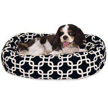 Majestic Pet Links Sherpa Bagel Dog Bed Machine Washable Black Small 24