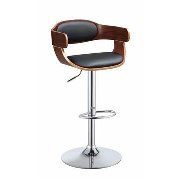 Benzara Black and Brown Adjustable Height Upholstered Swivel Bar Stool