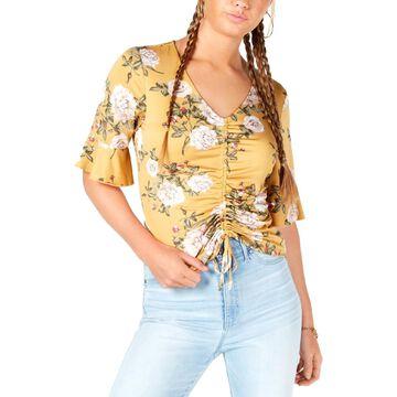 Ultra Flirt Womens Juniors Floral Ruffled Pullover Top