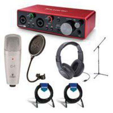 Focusrite Scarlett 2i2 2x2 USB Audio Interface 3rd Gen - Bundle With Samson SR350 Over-Ear Stereo Headphones, Behringer C-1 Condenser Mic, Samson PS04 Pop Filter, Samson Mic Stand, 2x 20' Mic Cable