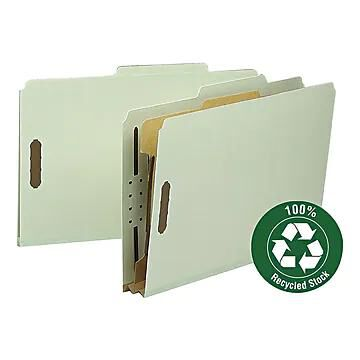 """Smead 100% Recycled Heavy Duty Pressboard Classification Folder, 2"""" Expansion, Legal Size, Gray/Green, 10/Box (18722)"""