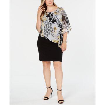 Plus Size Printed Chiffon Cape Dress