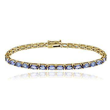 Glitzy Rocks Sterling Silver 8.75 Ct TGW Tanzanite Oval Tennis Bracelet - Blue