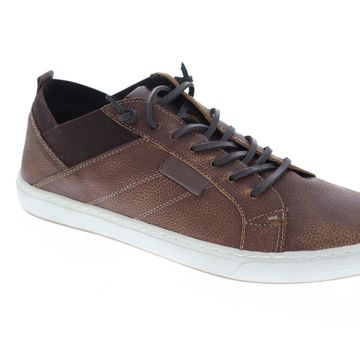 GBX Output Mens Brown Leather Casual Lace Up Fashion Sneakers Shoes