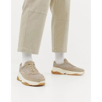 ASOS WHITE suede sneakers with chunky sole in sand-Beige