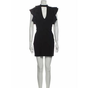 Mock Neck Mini Dress Black