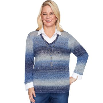 Petite Alfred Dunner Ombre Mock-Layer Sweater