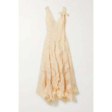 Zimmermann - Charm Star Ruffled Silk-organza And Guipure Lace Maxi Dress - Beige