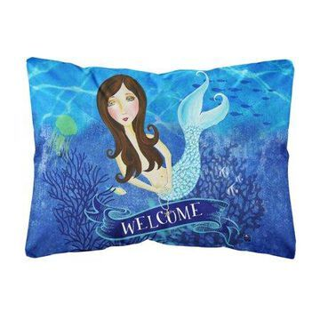 Welcome Mermaid Canvas Decorative Pillow