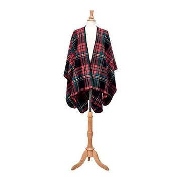 San Diego Hat Company Women's Open Front Woven Plaid Poncho BSP3546 Red - US Women's One Size (Wms Size One Size)