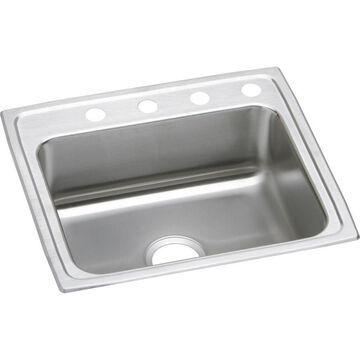 Elkay Lustertone Drop-In 25-in x 21.25-in Lustertone Single Bowl 2-Hole Kitchen Sink