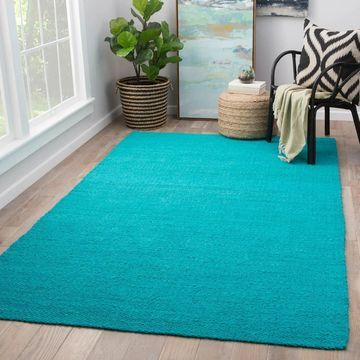 Quito Solid Turquoise Natural Jute Area Rug - 8'10