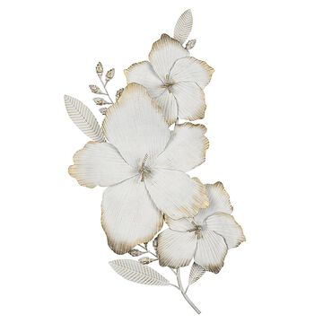 """Stratton Home Decor Blooming 3D Flower 29.5"""" X 15"""" Metal Wall Art In White/gold Distressed White"""
