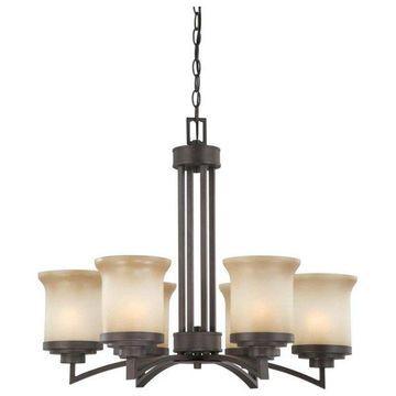 Nuvo Lighting 60-4125 Harmony 6-Light Chandelier with Saffron Glass