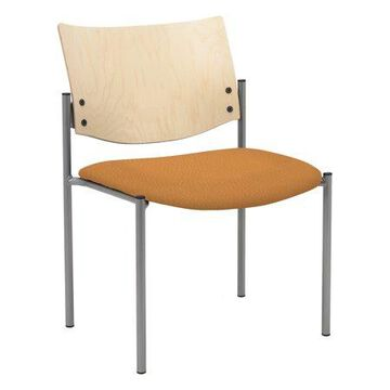 KFI Evolve Guest Chair, Armless with Natural Wood Back, Java Vinyl