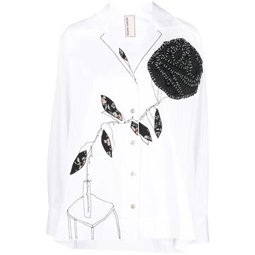 graphic print button-up shirt