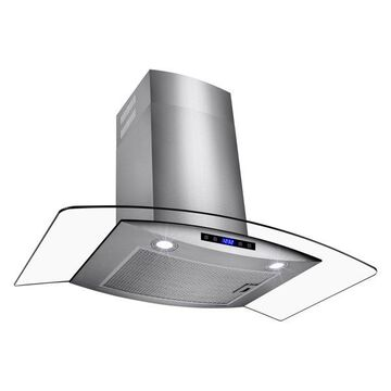 AKDY Wall Mount Stainless Steel Tempered Glass Touch Panel Range Hood,