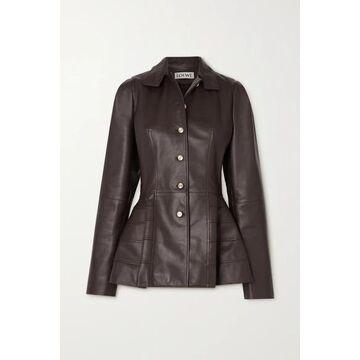 Loewe - Paneled Leather Peplum Jacket - Brown