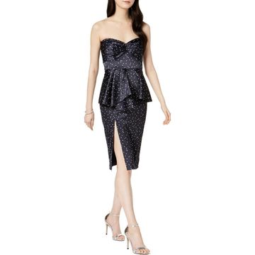 Bardot Womens Party Dress Satin Peplum