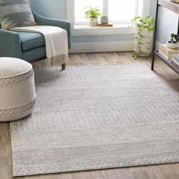 """Art of Knot Lottie Gray 6'7"""" Round Global Striped Area Rug"""