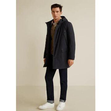 MANGO MAN - Cotton quilted jacket dark heather grey - XL - Men