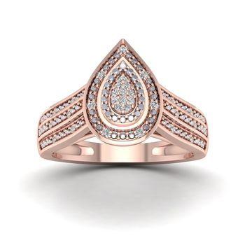 De Couer 1/10ct TDW Diamond Engagement Ring - Pink