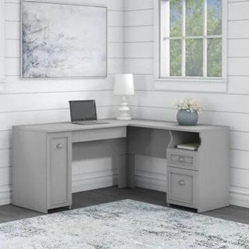 Fairview 60W L Shaped Desk and Storage Cabinet by Bush Furniture (Cape Cod Gray)