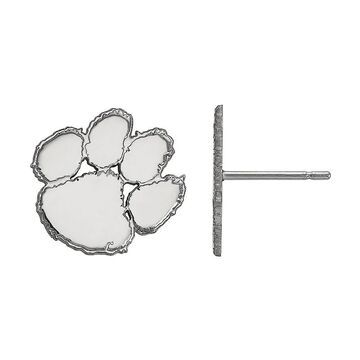 LogoArt Sterling Silver Rhodium Plated Clemson Tigers Small Post Earrings, Women's