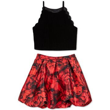Big Girls 2-Pc. Scalloped Velvet Top & Printed Bubble Skirt Set