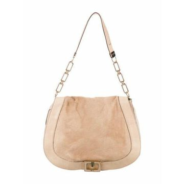 Calf Hair Shoulder Bag Brown