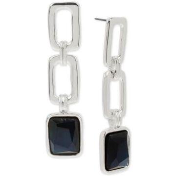 Robert Lee Morris Soho Silver-Tone Stone Geometric Link Triple Drop Earrings