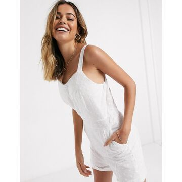 QED London broderie anglais romper in white