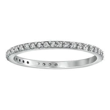 14K White Gold 1/3ct TDW Diamond Eternity Wedding Band Ring by Beverly Hills Charm