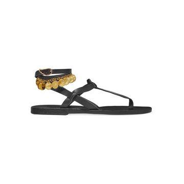 Ancient Greek Sandals - Estia Flouria Embellished Leather Sandals - Black